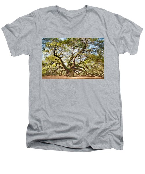 Men's V-Neck T-Shirt featuring the photograph Angel Oak In Spring by Patricia Schaefer