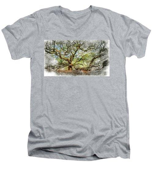 Angel Oak Mixed Media Men's V-Neck T-Shirt