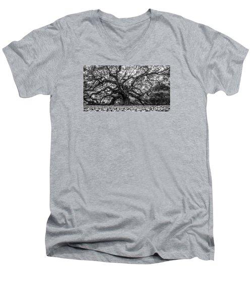 Angel Oak Tree Black And White  Men's V-Neck T-Shirt