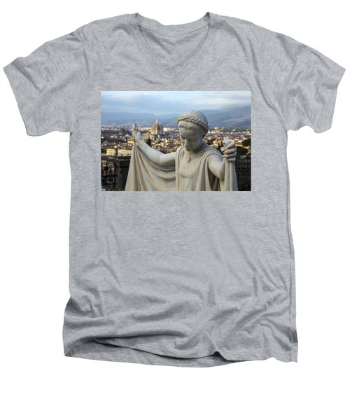 Men's V-Neck T-Shirt featuring the photograph Angel Of Firenze by Sonny Marcyan