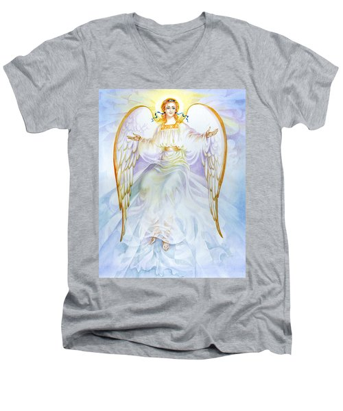 Men's V-Neck T-Shirt featuring the painting Angel Of Grace by Karen Showell