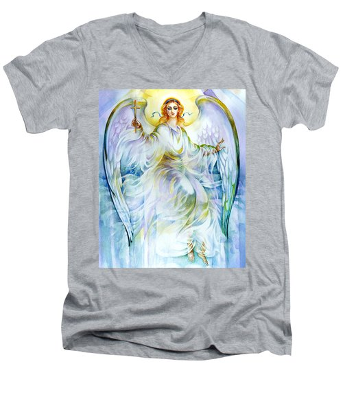 Men's V-Neck T-Shirt featuring the painting Angel Of Love by Karen Showell