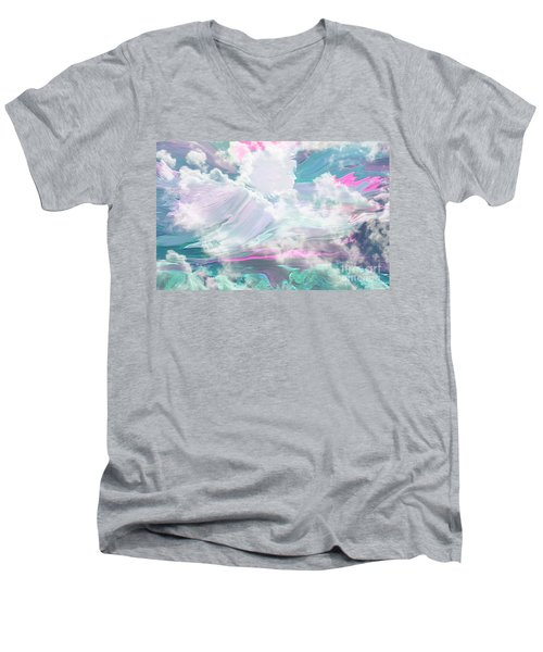 Angel Art Angel Of Peace And Healing Men's V-Neck T-Shirt by Sherri's Of Palm Springs