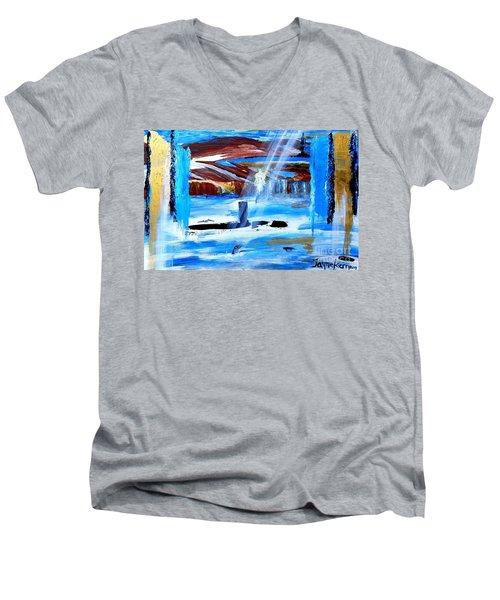 Angel Over Water Men's V-Neck T-Shirt