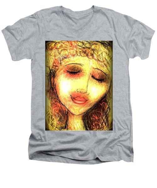 Angela Men's V-Neck T-Shirt by Elaine Lanoue