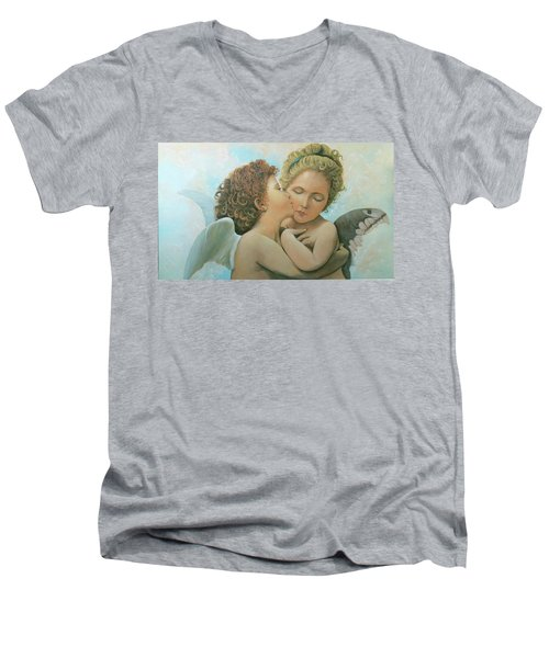 Men's V-Neck T-Shirt featuring the painting Bouguereau Angels- My Adaptation by Rosario Piazza