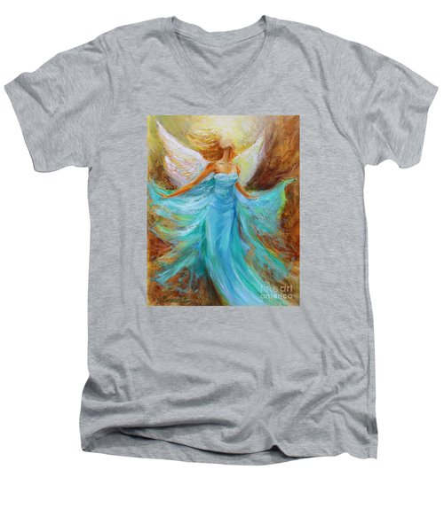 Men's V-Neck T-Shirt featuring the painting Angelic Rising by Jennifer Beaudet