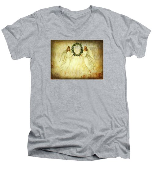 Angels Christmas Card Or Print Men's V-Neck T-Shirt by Bellesouth Studio