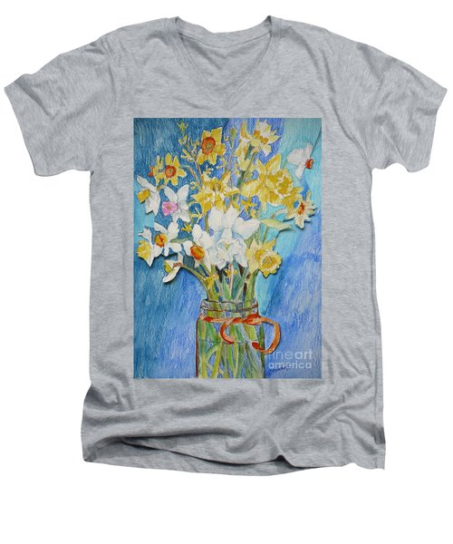 Angels Flowers Men's V-Neck T-Shirt by Jan Bennicoff
