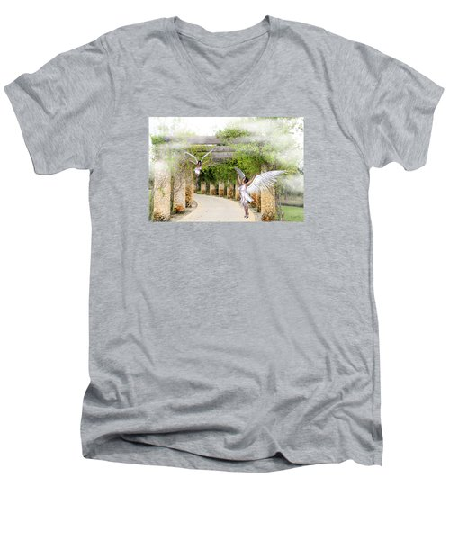 Angels Under The Arbor Men's V-Neck T-Shirt by Rosalie Scanlon