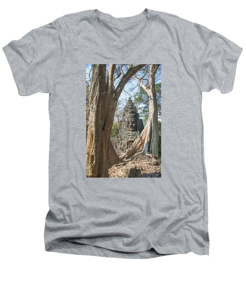 Men's V-Neck T-Shirt featuring the photograph Angkor Thom South Gate by Rob Hemphill