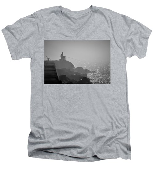 Angling In A Fog  Men's V-Neck T-Shirt