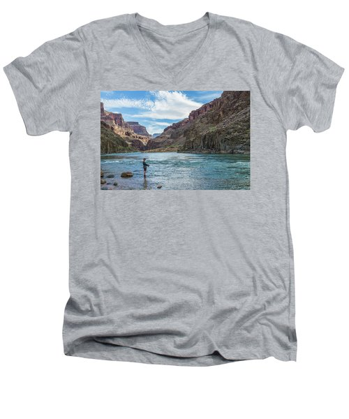 Men's V-Neck T-Shirt featuring the photograph Angling On The Colorado by Alan Toepfer