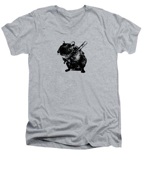 Angry Street Art Mouse  Hamster Baseball Edit  Men's V-Neck T-Shirt