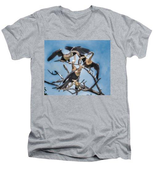 Anhinga Feeding Time Men's V-Neck T-Shirt