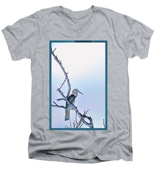 Anhinga In Blue Men's V-Neck T-Shirt by Pamela Blizzard