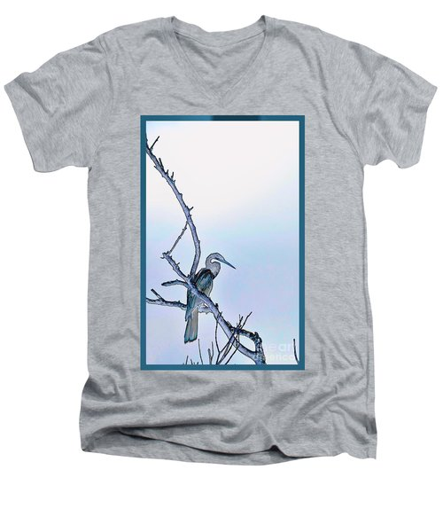 Anhinga In Blue Men's V-Neck T-Shirt