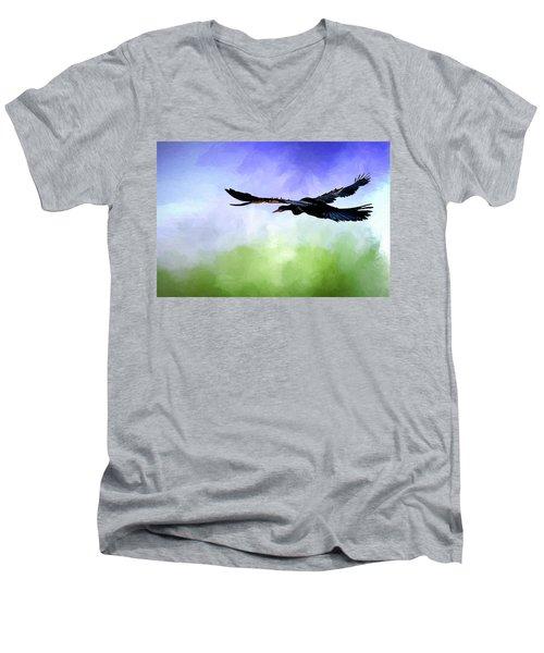 Anhinga In Flight Men's V-Neck T-Shirt