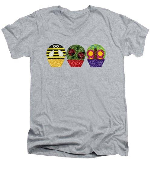 Animal Cupcakes 1 Men's V-Neck T-Shirt by Emily Kim