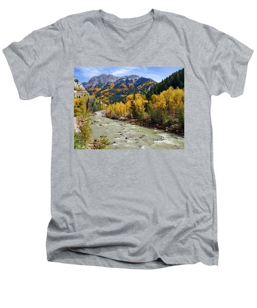 Men's V-Neck T-Shirt featuring the photograph Animas River San Juan Mountains Colorado by Kurt Van Wagner