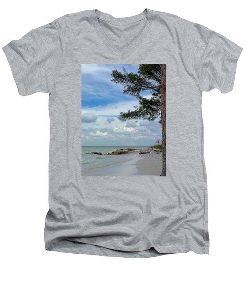 Anna Maria Island  Men's V-Neck T-Shirt by Jean Marie Maggi