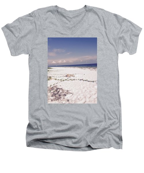 Anna Maria Island Beyond The White Sand Men's V-Neck T-Shirt by Jean Marie Maggi