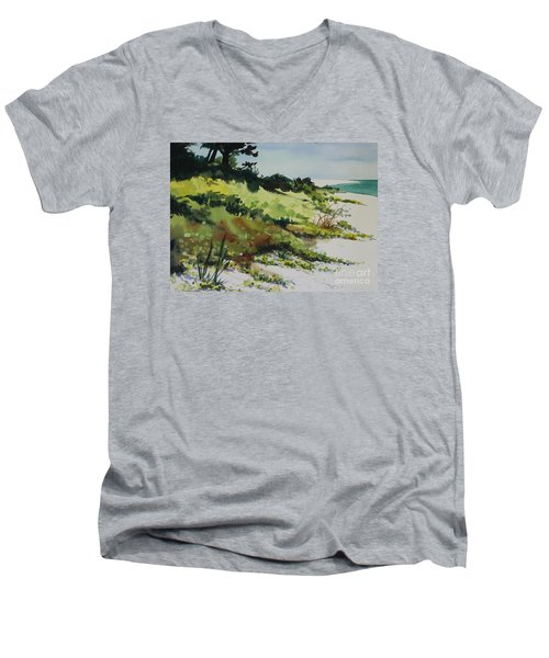 Men's V-Neck T-Shirt featuring the painting Anna Marie Island by Elizabeth Carr