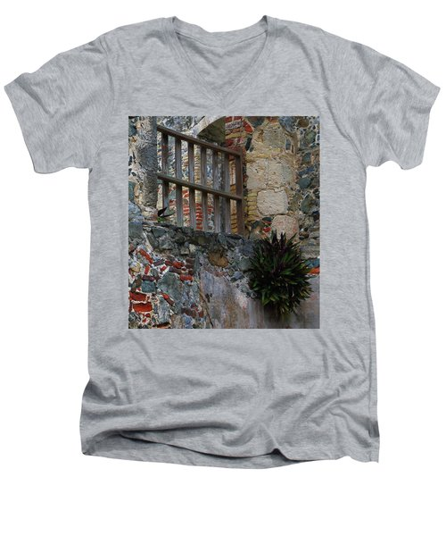 Annaberg Ruin Brickwork At U.s. Virgin Islands National Park Men's V-Neck T-Shirt by Jetson Nguyen