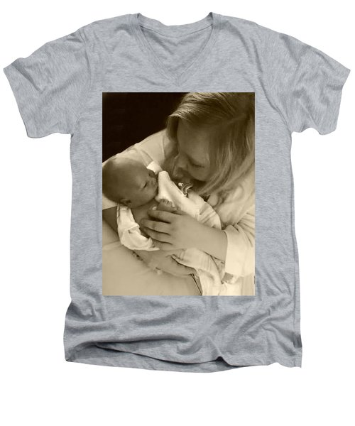 Annah With Newborn  Men's V-Neck T-Shirt