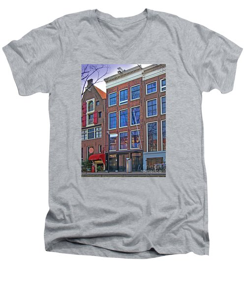 Anne Frank Home In Amsterdam Men's V-Neck T-Shirt