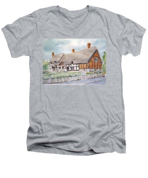Men's V-Neck T-Shirt featuring the painting Anne Hathaway's Cottage by Marilyn Zalatan