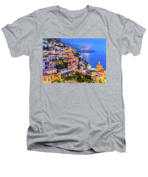 Men's V-Neck T-Shirt featuring the digital art Another Glowing Evening In Positano by Rosario Piazza