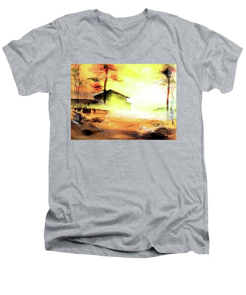 Men's V-Neck T-Shirt featuring the painting Another Good Morning by Anil Nene