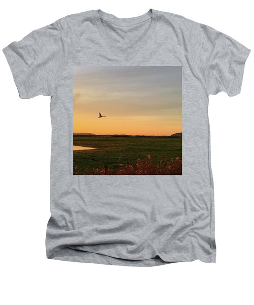 Another Iphone Shot Of The Swan Flying Men's V-Neck T-Shirt by John Edwards