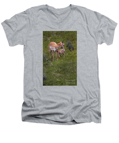 Men's V-Neck T-Shirt featuring the photograph Antelope And Baby-signed-#3576 by J L Woody Wooden