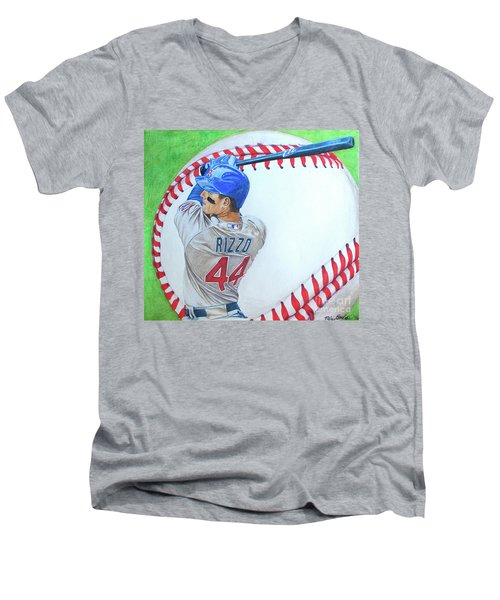 Men's V-Neck T-Shirt featuring the drawing Anthony Rizzo 2016 by Melissa Goodrich
