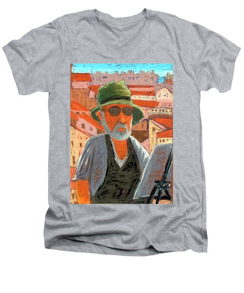 Men's V-Neck T-Shirt featuring the painting Antibes Self by Gary Coleman