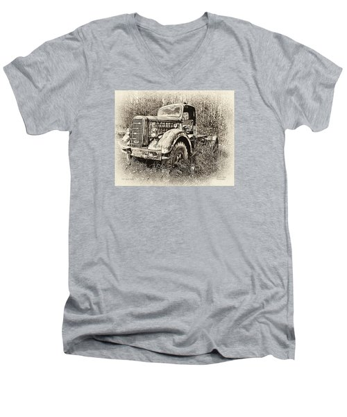 Men's V-Neck T-Shirt featuring the photograph Antique 1947 Mack Truck by Mark Allen