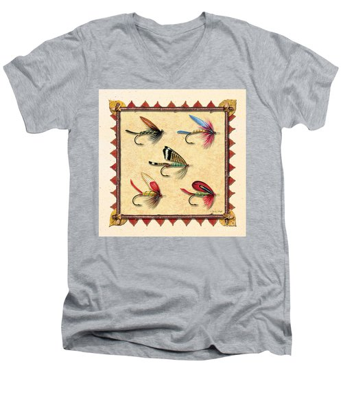 Men's V-Neck T-Shirt featuring the painting Antique Fly Panel Creme by JQ Licensing