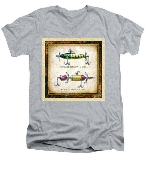 Men's V-Neck T-Shirt featuring the painting Antique Lure Panel One by JQ Licensing Jon Q Wright