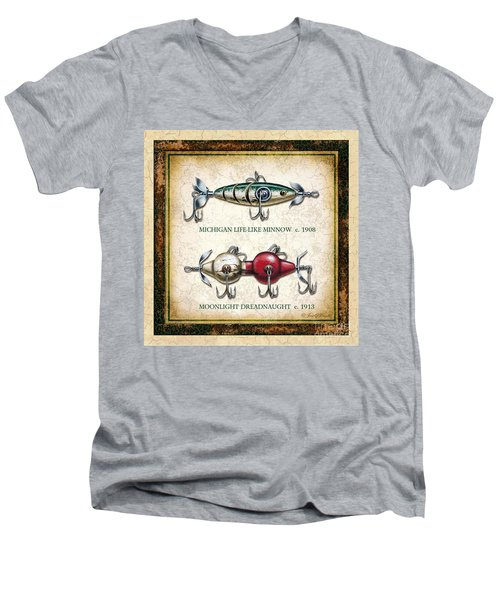 Antique Lure Panel Two Men's V-Neck T-Shirt