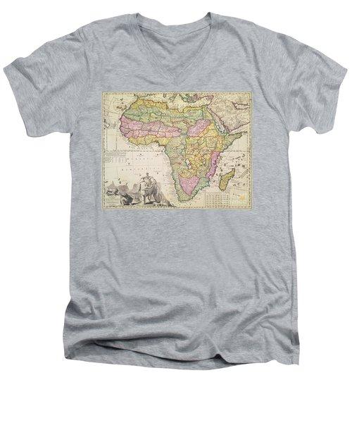 Antique Map Of Africa Men's V-Neck T-Shirt by Pieter Schenk