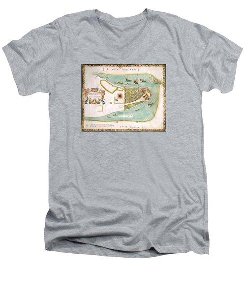 Antique Map Of Manhattan New York 1664 Men's V-Neck T-Shirt