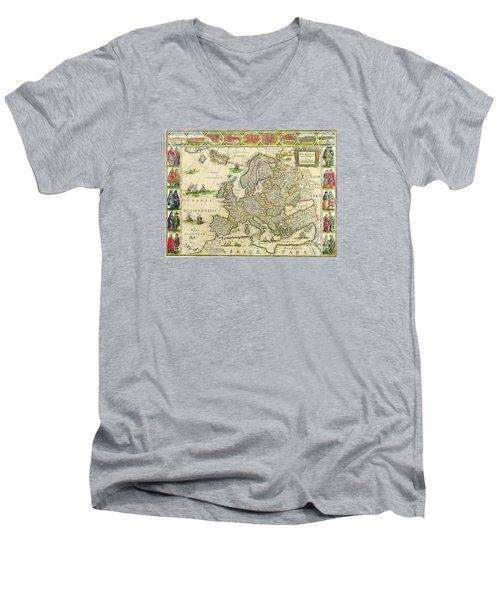 Antique Maps Of The World Map Of Europe Willem Blaeu C 1650 Men's V-Neck T-Shirt