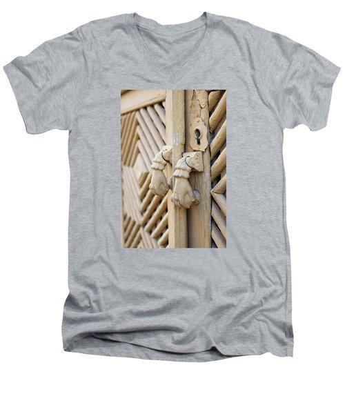 Antique Mediterranean Door-knocker Men's V-Neck T-Shirt by Angelo DeVal