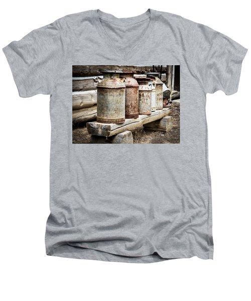 Antique Milk Cans Men's V-Neck T-Shirt