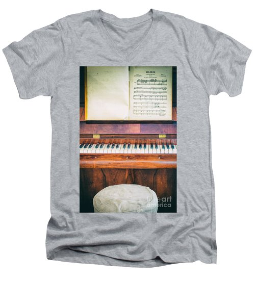 Men's V-Neck T-Shirt featuring the photograph Antique Piano And Music Sheet by Silvia Ganora