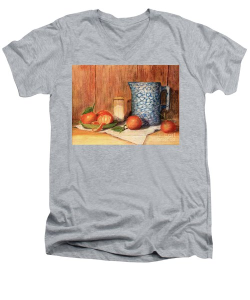 Antique Pitcher With Tangerines Men's V-Neck T-Shirt