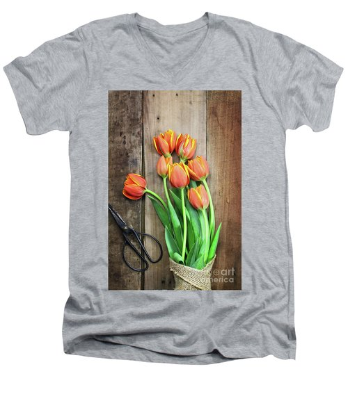 Men's V-Neck T-Shirt featuring the photograph Antique Scissors And Bouguet Of Tulips by Stephanie Frey