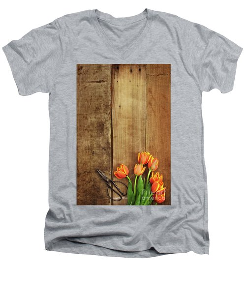 Men's V-Neck T-Shirt featuring the photograph Antique Scissors And Tulips by Stephanie Frey